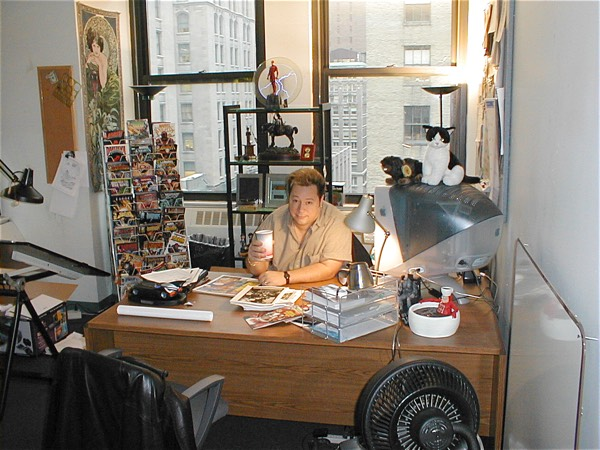 Joe Quesada with a Cup of Joe at the Marvel offices 2000