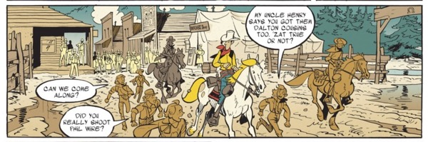 Kids follow Lucky Luke, asking about his famous adventures
