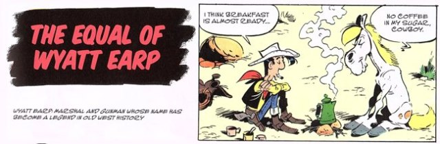"Wyatt Earp story start from Lucky Luke v50 ""Seven Stories"" by Morris and Goscinny"