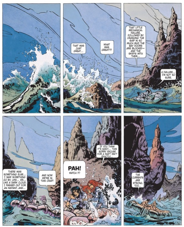 """Jean-Claude Mezieres holds the background while Valerian and Laureline move across them in """"Birds of the Master"""""""