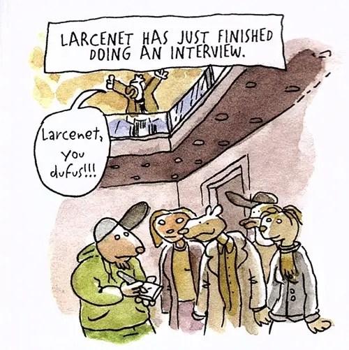 Lewis Trondheim runs into Manu Larcenet in Angouleme