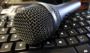 podcast microphone on a keyboard