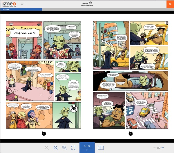 Reading a digital Franco-Belgian comic on Izneo