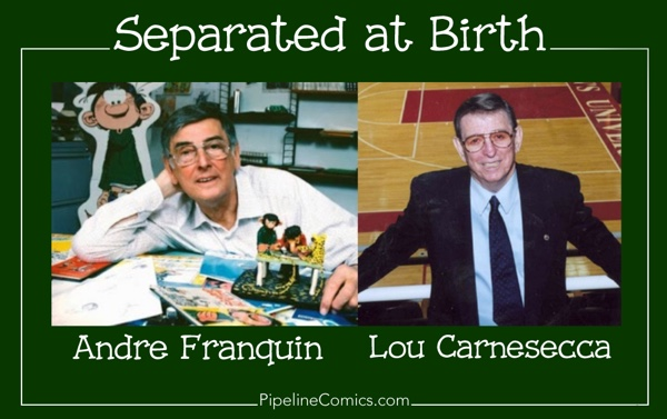 Separated At Birth Andre Franquin and St. Johns University basketball coach Lou Carnesecca