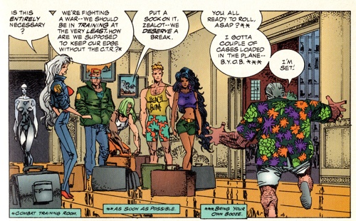 Erik Larsen draws the WildC.A.T.s team for Image X Month, spouting nonsense acronyms