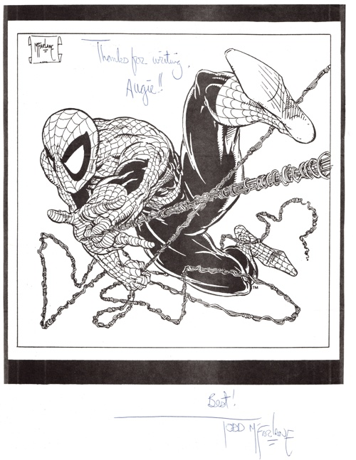 Todd McFarlane signs and sends an autograph