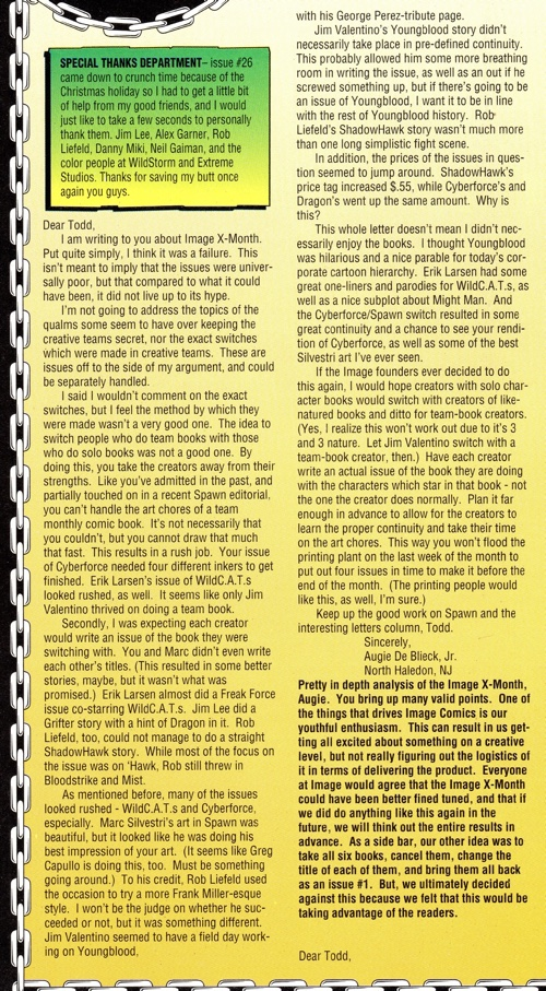 My letter in Spawn #27 regarding Image X Month