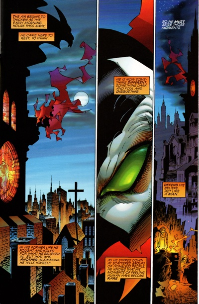 Marc Silvestri draws a page of Spawn with a classic McFarlane storytelling tic