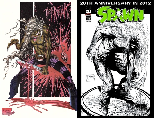 Todd McFarlane Spawn #216 The Freak cover versus Image Zero pin-up