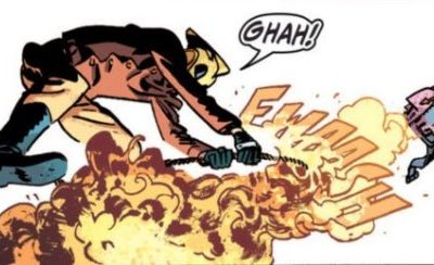 Rocketeer sound effect indicates the point of origin.
