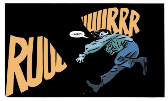 The Rocketeer lettering by Chris Samnee helps to silhouette a creature.
