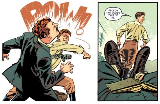 Cliff Secord, the Rocketeer, delivers a haymaker to an appropriate sound effect.
