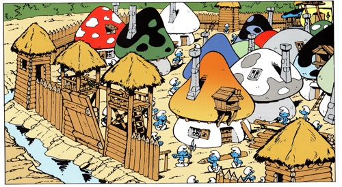 """Smurf Village with surrounding wall from """"The Smurf King"""""""
