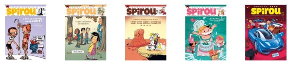 A row of recent Spirou issues