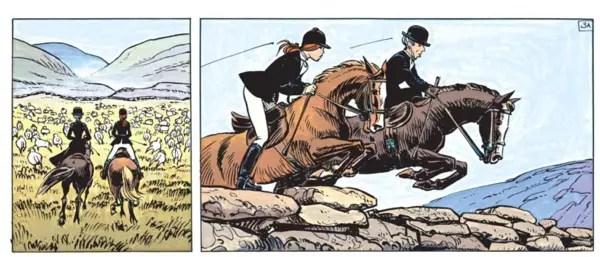 Laureline rides a horse