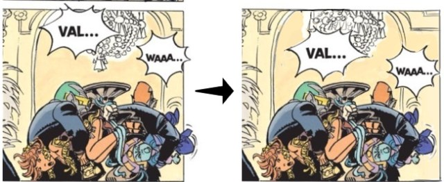 Third panel, before and after the lettering change