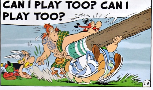 Obelix tossing a caber, of course