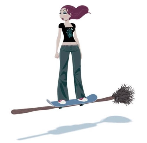 Zombillenium's goth witch, Gretchen, rides a skateboard broom. Of course.