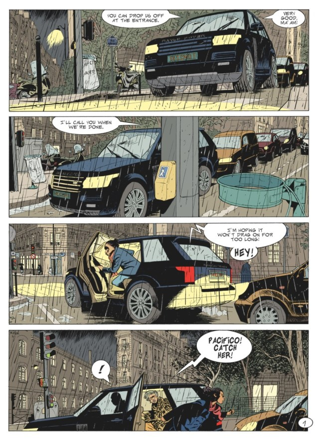 A car cross the panel in Alain Dodier's storytelling
