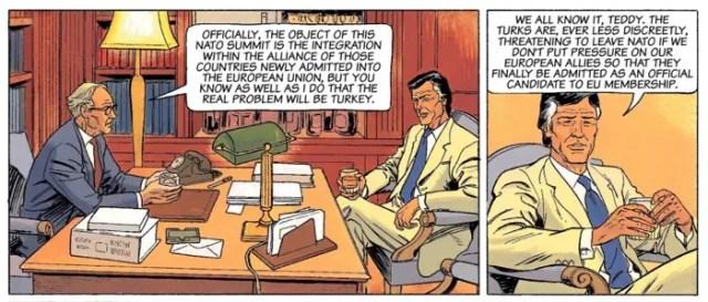 Diplomats talk politics and work.