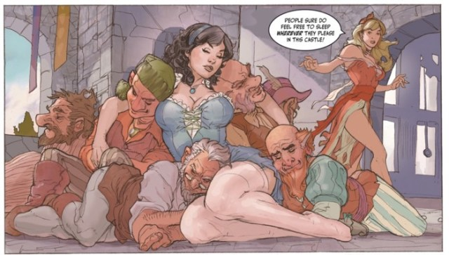 "Show White and her tired drunken dwarves in ""Muse"", drawn by Terry Dodson"