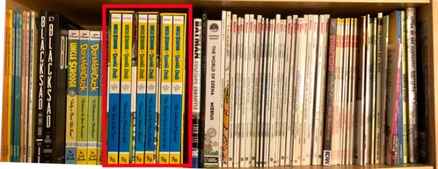 My top bookshelf with oversized albums, like Asterix, Lucky Luke, and Fantagraphics Duck books.