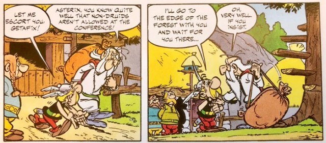 Asterix offers his assistance to Getafix for a safe journey