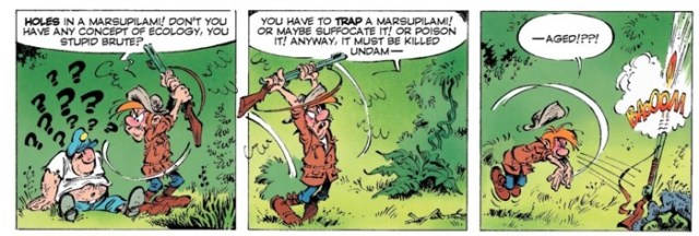 The hunter doesn't want to destroy Marsupilami before killing him