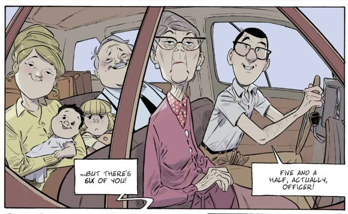The entire Falderault family in their vacation car at customs