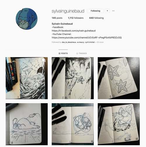 The Inktober Instagram page of Sylvain Guinebaud