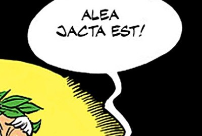 Alea Jacta Est word balloon, also with Caesar's head