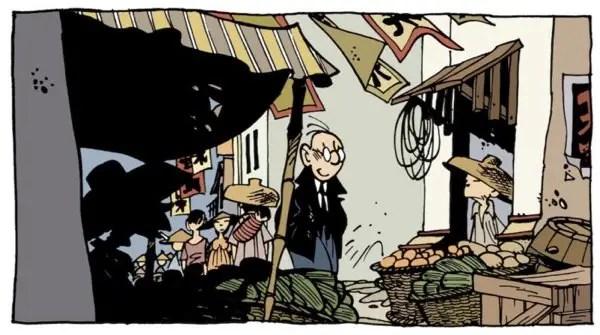 Theodore Poussin walks around an Asian market