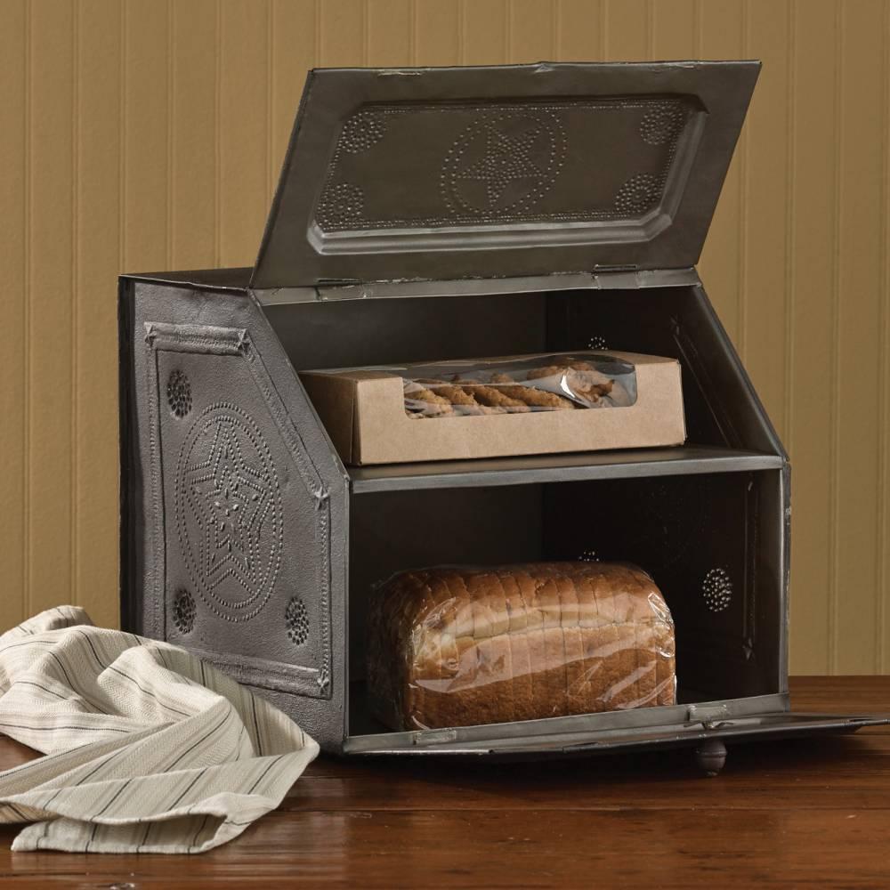 Country Decor Black Star Metal Bread Box