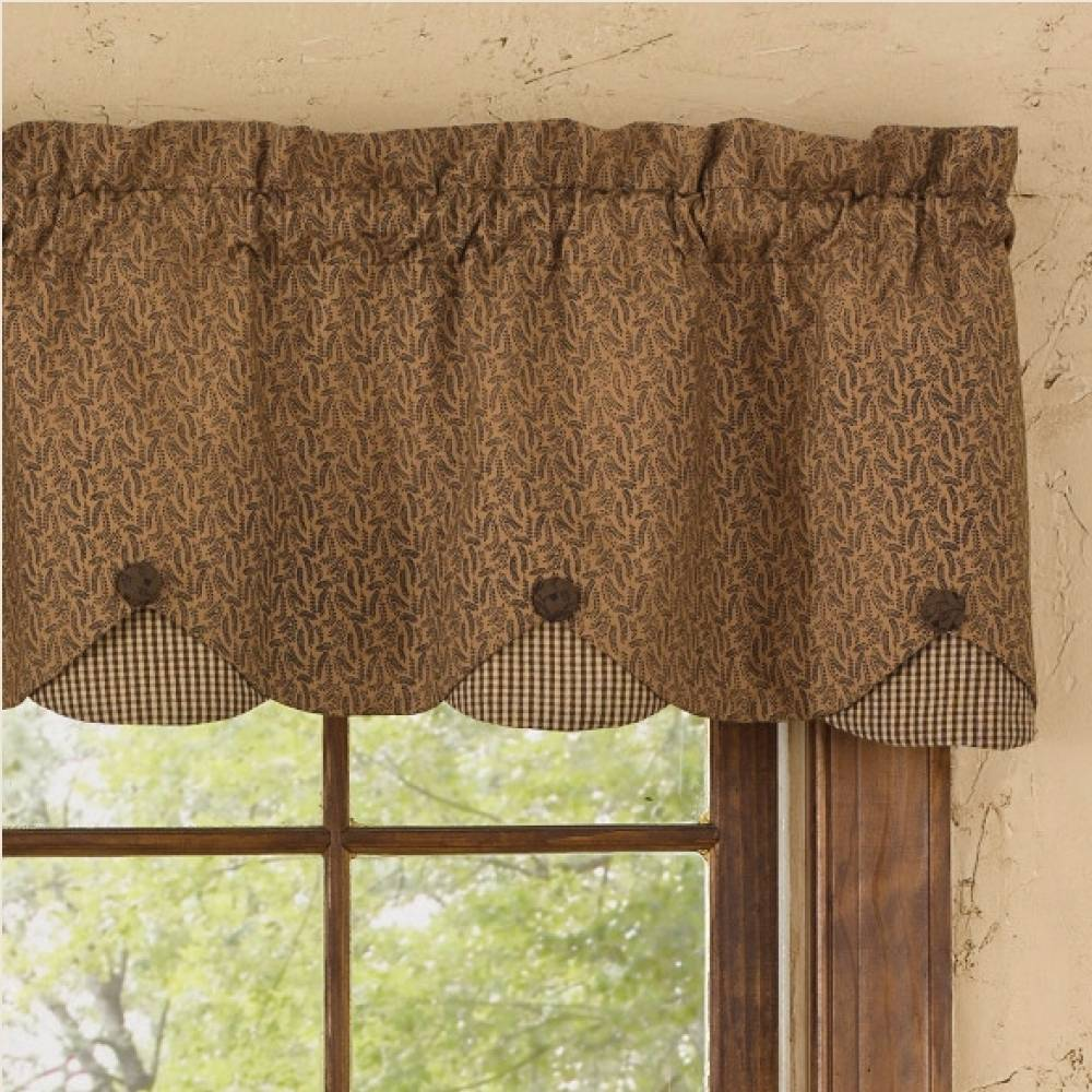 Country Straight Valance Curtains  Shades of Brown Lined