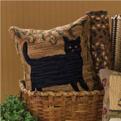 Country Style Kitchen Curtains Sink Drain Assembly Primitive Cat Hooked 18