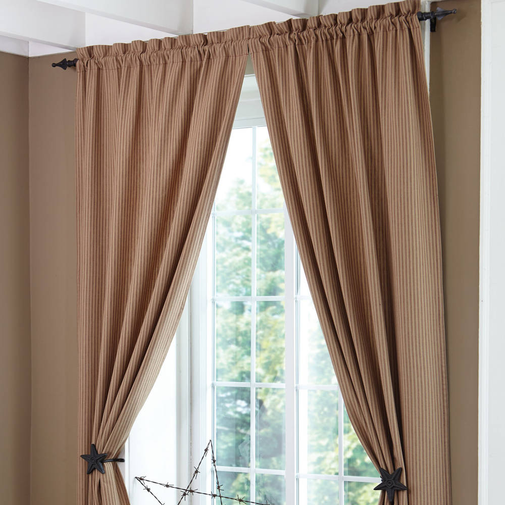 Country Curtains Sturbridge Patch Wine Ticking Panels 84