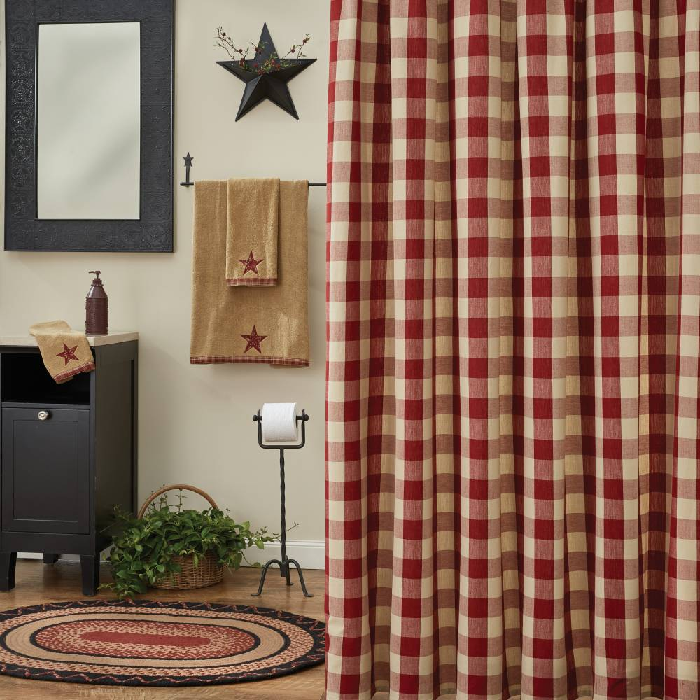 wicklow barn red shower curtain