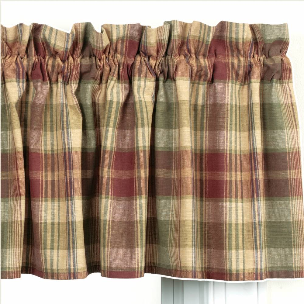 Country Straight Valance Curtains  Saffron Pattern
