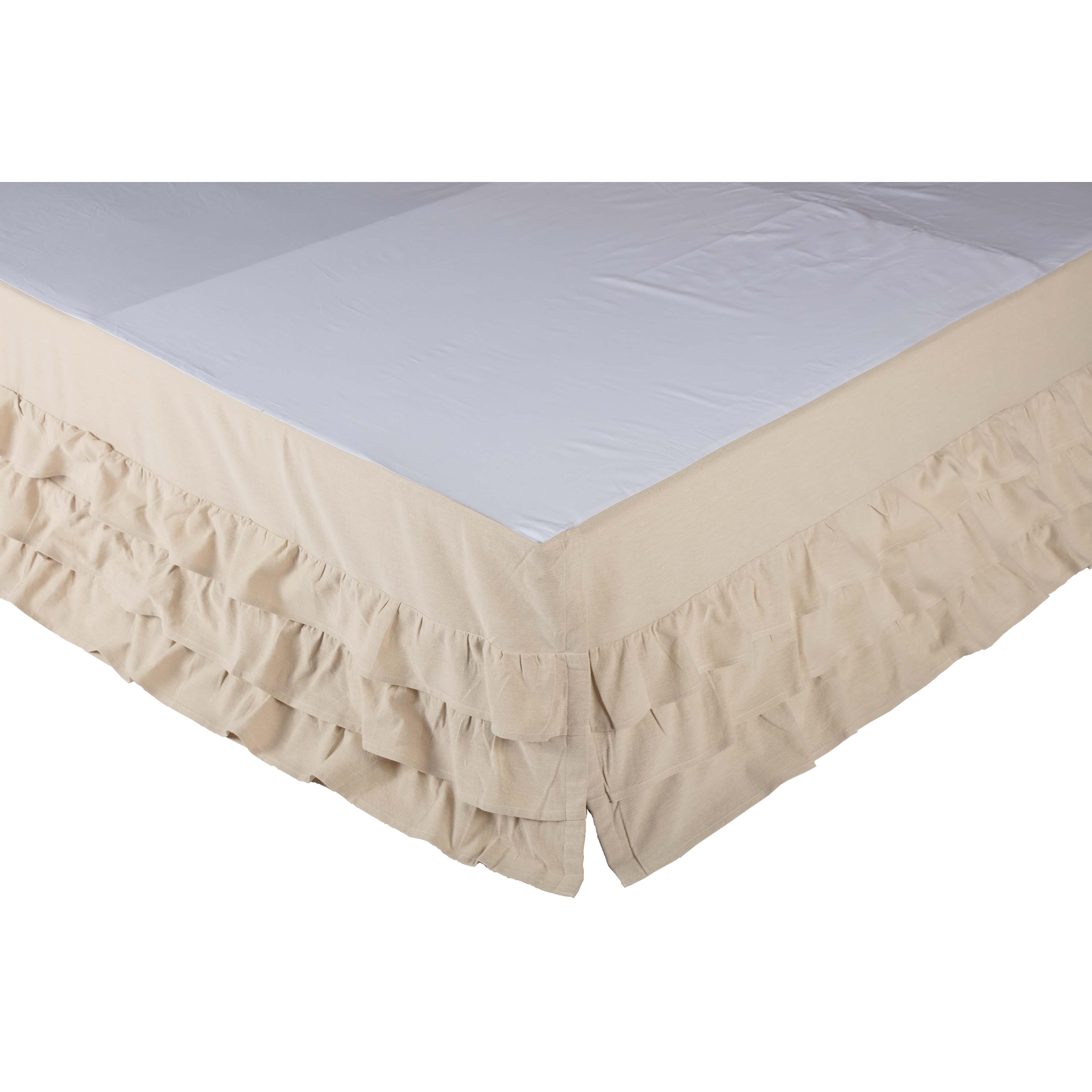 Ruffled Chambray Natural Bed Skirt