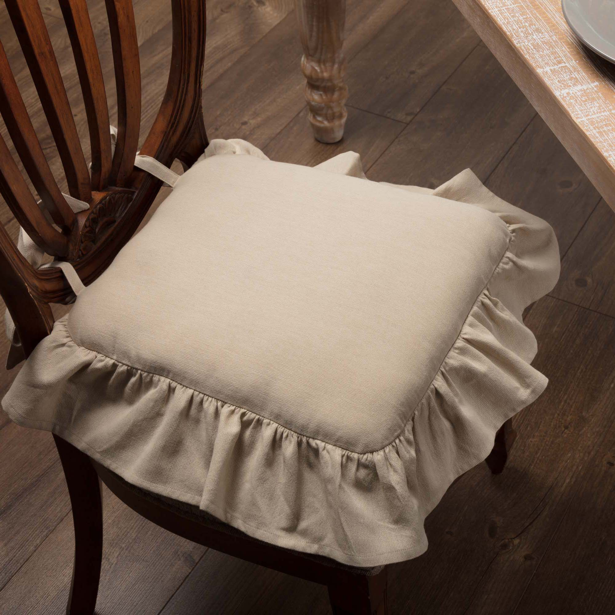 fall kitchen curtains single bowl undermount sink ruffled chambray natural chair pad - piper classics