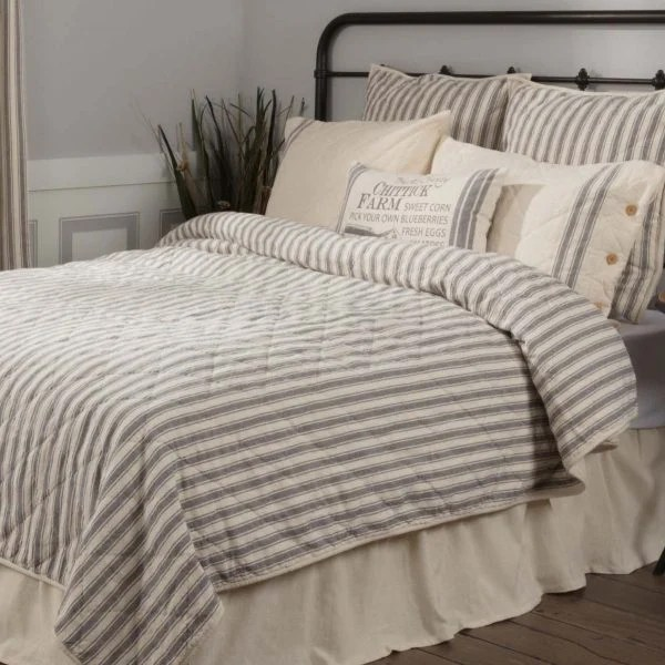 fall kitchen curtains remodeling san diego market place ticking stripe quilt - queen piper classics