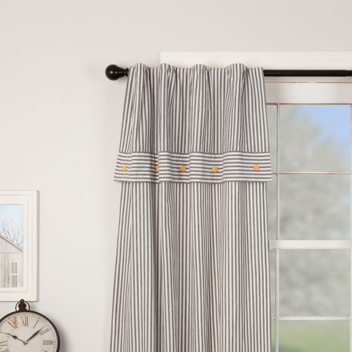 Farmhouse Ticking Gray Lined Valance Panels
