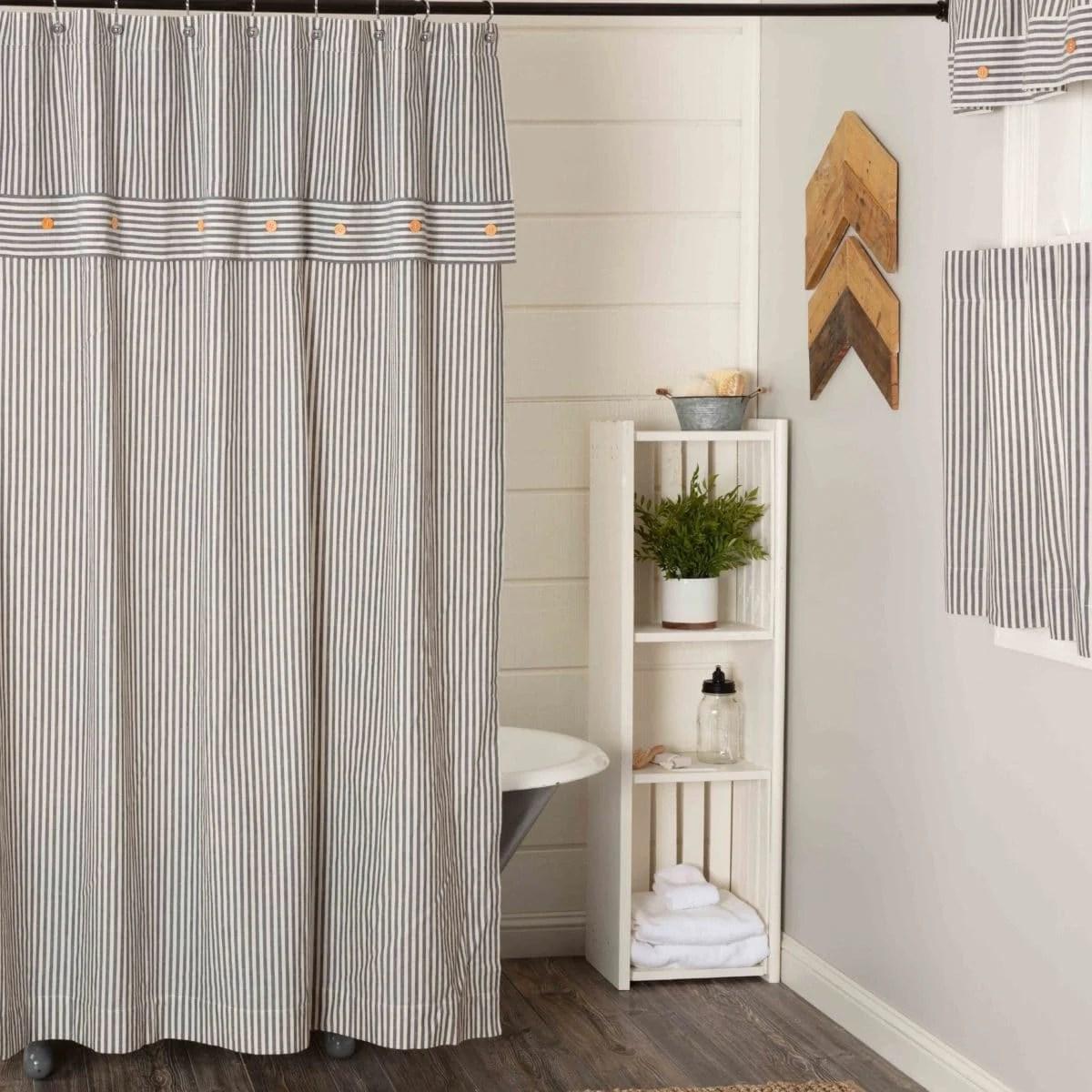 farmhouse ticking gray shower curtain