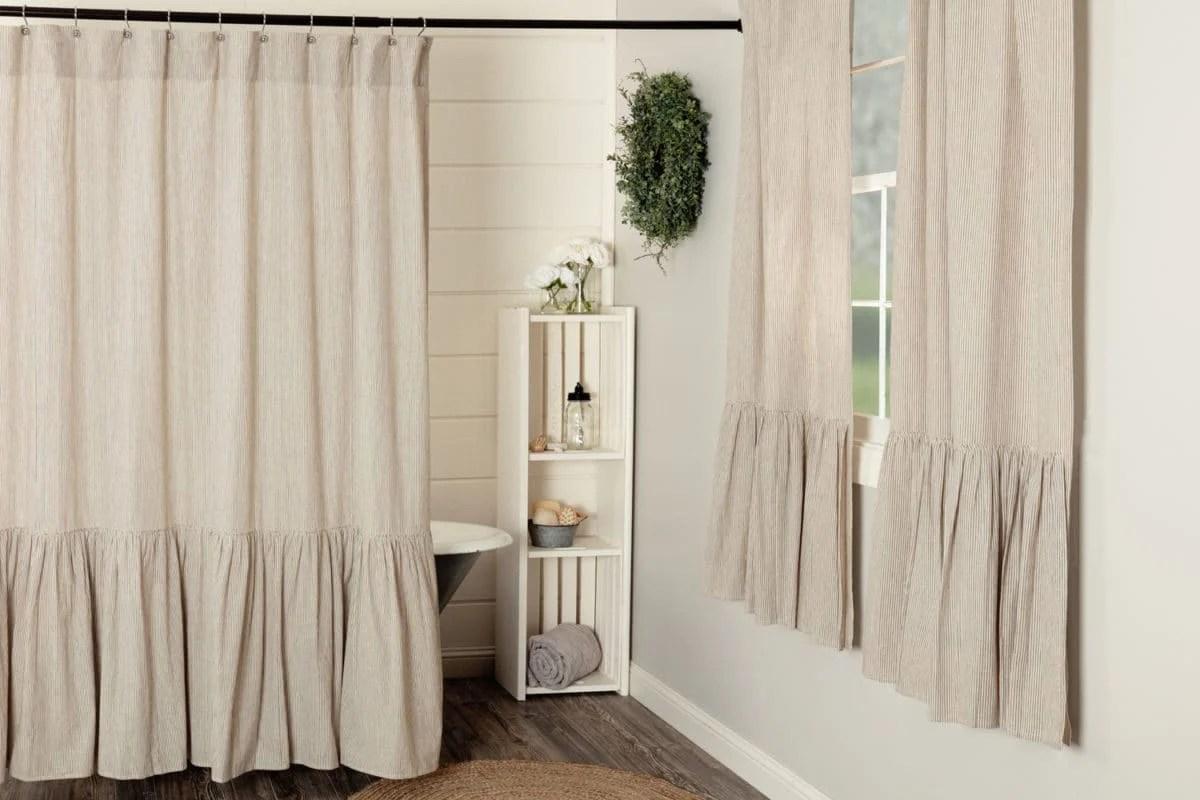 sara s ticking black ruffled shower curtain