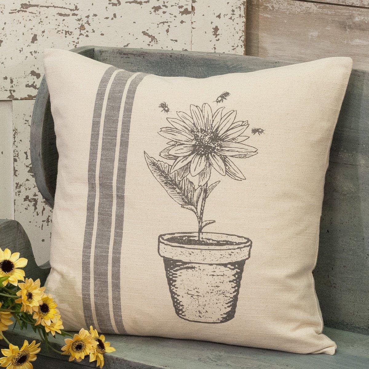 spring flowerpot 20 x 20 pillow cover
