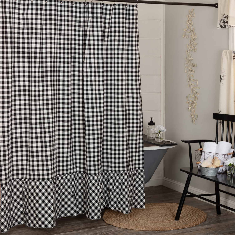 vintage check black shower curtain