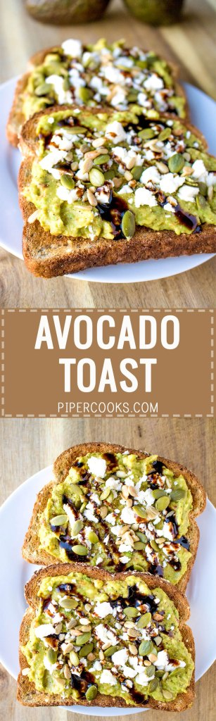 Avocado Toast - Filling avocado toast recipe with chili paste, feta cheese, pumpkin seeds, sunflower seeds and balsamic glaze.