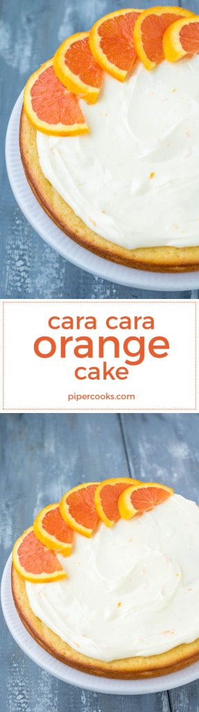 Orange_Cake_Spring_PiperCooks Use Cara Cara Oranges in this spring layer cake with fresh orange juice, orange zest and Orange Cream Cheese Icing.