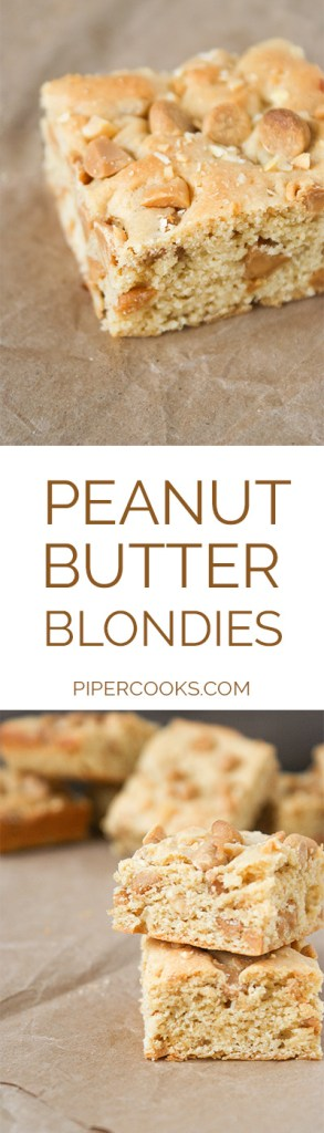 Peanut Butter Blondies Recipe – Quick and tasty peanut butter square recipe, with peanut butter, chopped peanuts and peanut chips. Great bar recipe for parties or showers. PiperCooks.com