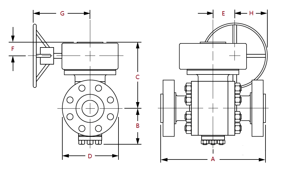 Dimensions of Class 300 Gear Operated Ball Valves
